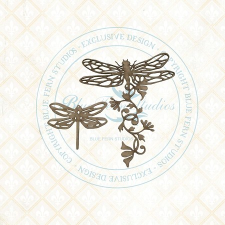 Blue Fern Studios - Dragonfly Blossoms Chipboard