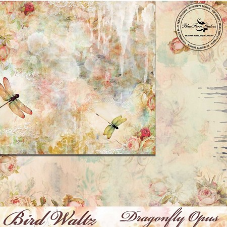 "Blue Fern Studios - Bird Waltz Collection Dragonfly Opus 12""x12"" Double Sided Cardstock"