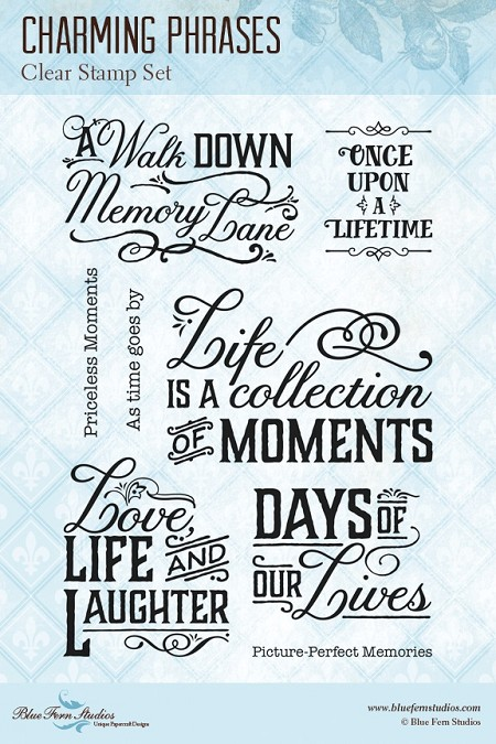 Blue Fern Studios - Charming Phrases Clear Stamp