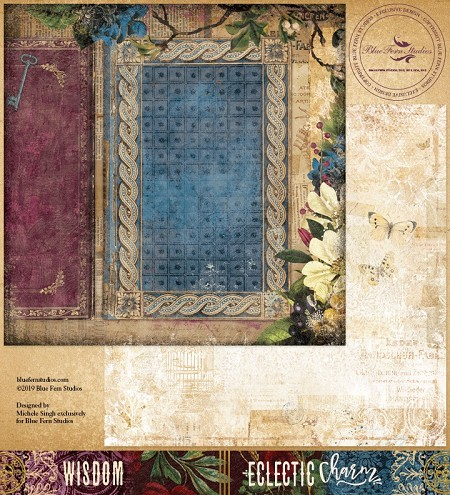 "Blue Fern Studios - Eclectic Charm Collection Wisdom 12""x12"" Double Sided Cardstock"