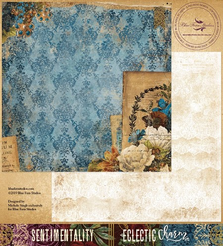 "Blue Fern Studios - Eclectic Charm Collection Sentimentality 12""x12"" Double Sided Cardstock"