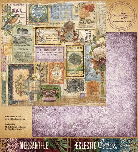 "Blue Fern Studios - Eclectic Charm Collection Mercantile 12""x12"" Double Sided Cardstock"
