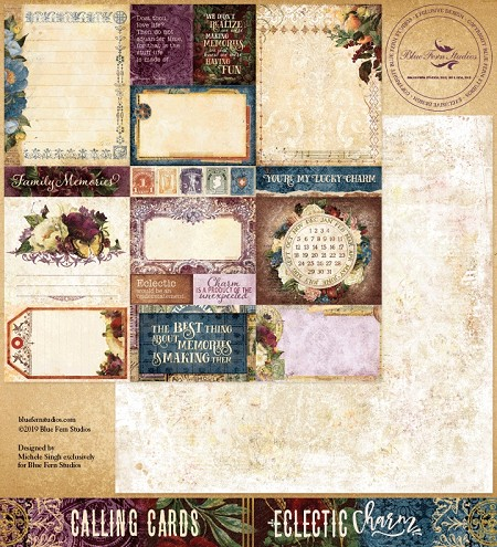 "Blue Fern Studios - Eclectic Charm Collection Calling Cards 12""x12"" Double Sided Cardstock"