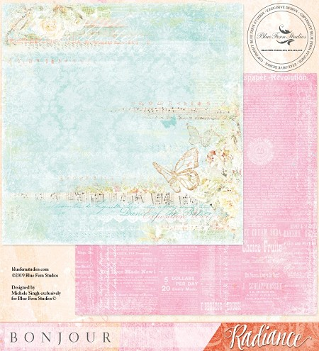"Blue Fern Studios - Radiance Collection Bonjour 12""x12"" Double Sided Cardstock"