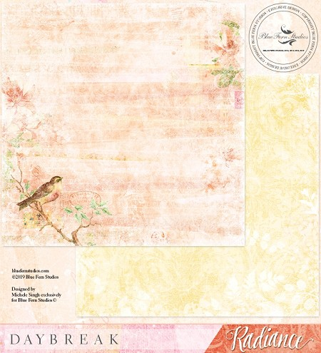 "Blue Fern Studios - Radiance Collection Day Break 12""x12"" Double Sided Cardstock"