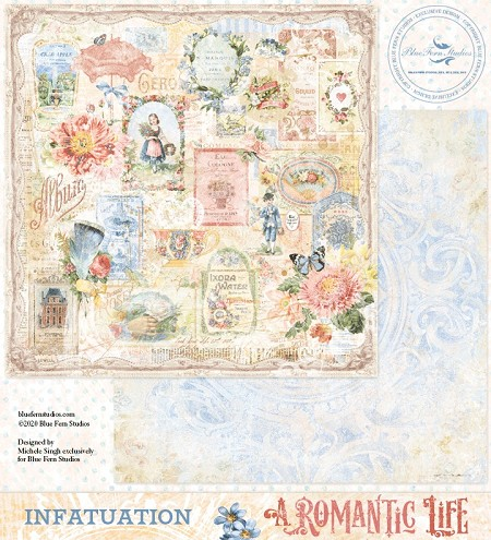 "Blue Fern Studios - A Romantic Life Collection Infatuation 12""x12"" Double Sided Cardstock"