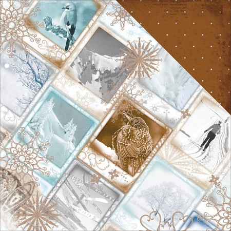 "Bo Bunny - Whiteout Collection - Arctic Rim 12""x12"" cardstock (Glitter)"