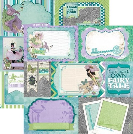 "Bo Bunny - Enchanted Garden Collection - 12""x12"" Double Sided Paper - Pixies"