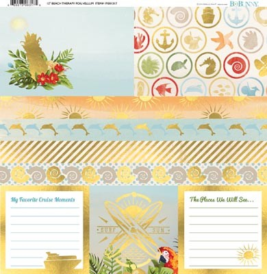 "Bo Bunny - Beach Therapy Collection - Foil Vellum 12""x12"""