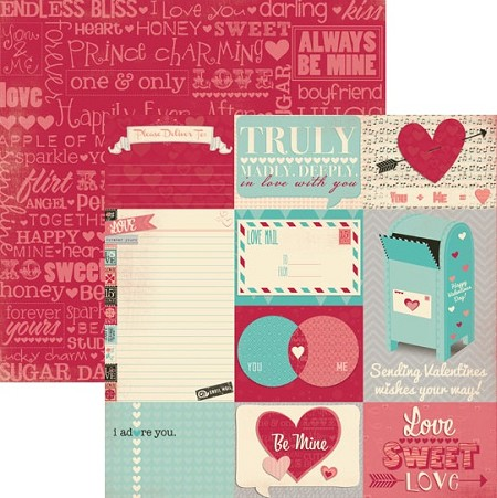 Bo Bunny - Love Letters Collection - 12x12 Double Sided Paper - Journal