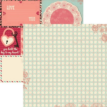 Bo Bunny - Love Letters Collection - 12x12 Double Sided Paper - Tiles