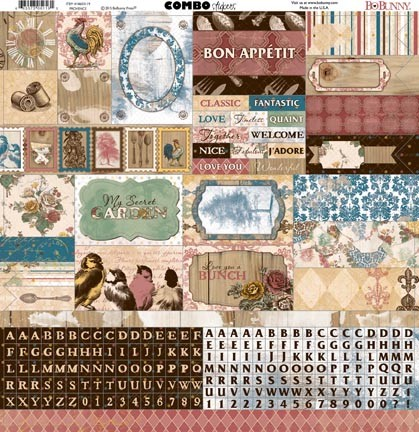 "Bo Bunny - Provence Collection - Combo Sticker (12""x12"")"