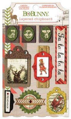 Bo Bunny - Christmas Collage Collection - Layered Chipboard