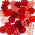 Clear Flower Buttons - Shades of Red