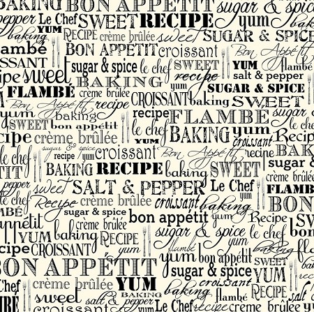 Canvas Corp - 12x12 Cardstock - Black and Ivory Bon Appetit