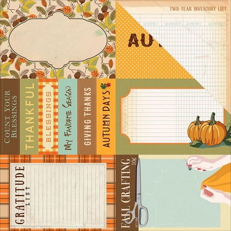 "Carta Bella - Autumn Collection - 12""x12"" Cardstock - Journaling Cards 4""X6"""