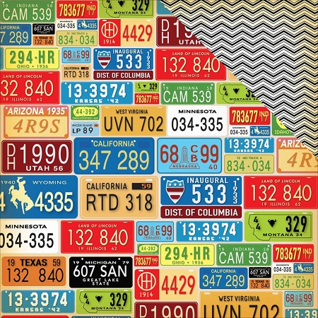 "Carta Bella - Cartopia Collection - 12""x12"" Cardstock - License Plates"