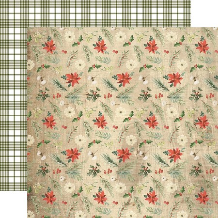 "Carta Bella - Christmas Collection - 12""x12"" Cardstock - Winter Floral"