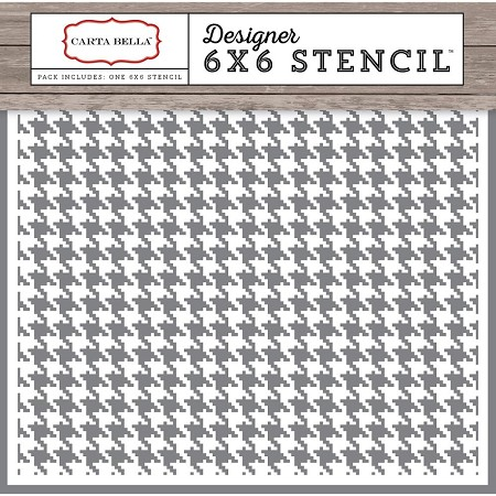"Carta Bella - Christmas Delivery Collection - Houndstooth Stencil (6""x6"")"