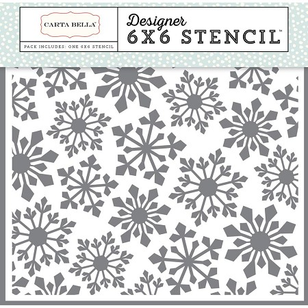 "Carta Bella - Snow Fun Collection - Pointed Snowflake Stencil (6""x6"")"