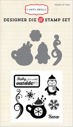 Carta Bella - Designer Dies - All Bundled Up Collection - Cold Outside die and clear stamp set