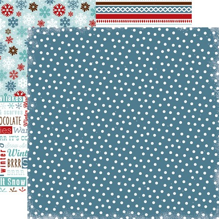 "Carta Bella - All Bundled Up Collection by Alisha Gordon - 12""x12"" cardstock - Navy Polka Dots"