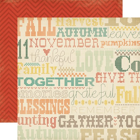 "Carta Bella - Fall Blessings Collection - 12""x12"" cardstock - Cross Stitching"