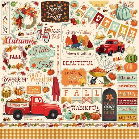 "Carta Bella - Fall Break Collection - 12""x12"" Stickers"