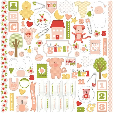 "Carta Bella - It's a Girl Collection - 12""x12"" Sticker Sheet"