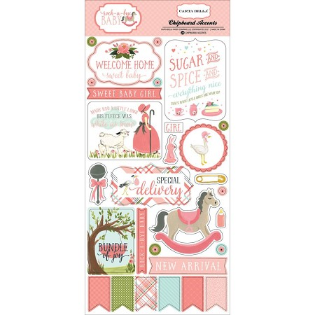 "Carta Bella - Rock-a-Bye Baby Girl Collection - 6""x12"" Chipboard Accents"