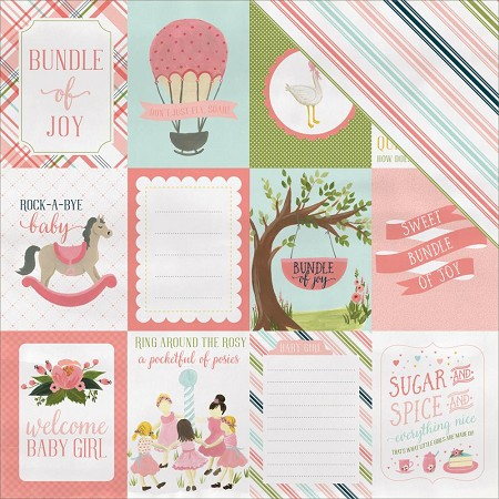 "Carta Bella - Rock-a-Bye Baby Girl Collection - 12""x12"" Cardstock - 3""X4"" Journaling Cards"