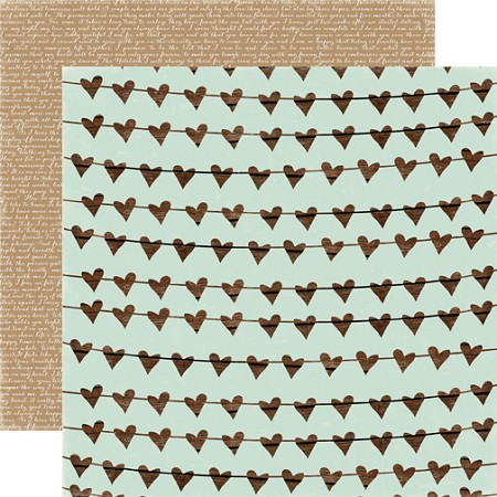 "Carta Bella - Rustic Elegance Collection - 12""x12"" cardstock - Heart Garland"