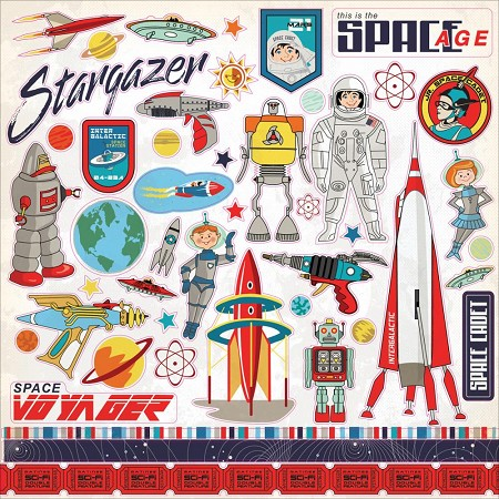 "Carta Bella - Space Academy Collection - 12""x12"" Stickers"