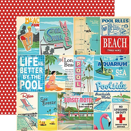 "Carta Bella - Summer Splash Collection - 12""x12"" Cardstock - Vacation Journaling Cards"