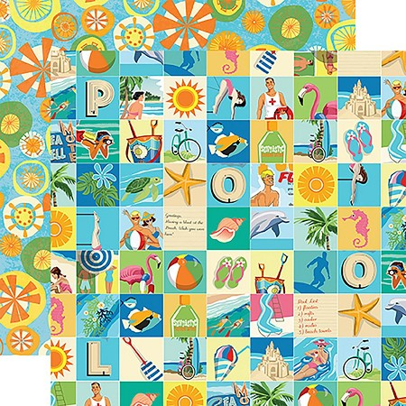 "Carta Bella - Summer Splash Collection - 12""x12"" Cardstock - Beach Squares"