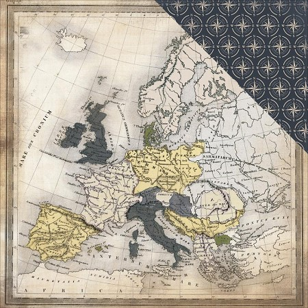 "Carta Bella - Transatlantic Travel Collection - 12""x12"" Cardstock - Travel Map"