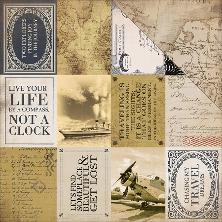 "Carta Bella - Transatlantic Travel Collection - 12""x12"" Cardstock - 3""x4"" Journaling Cards"
