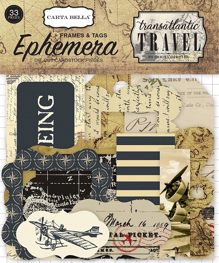 Carta Bella - Transatlantic Travel Collection - Die Cut Tags & Frames