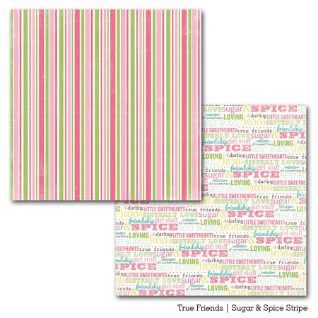 "Carta Bella - True Friends Collection by Carina Gardner - 12""x12"" Double Sided Paper - Sugar & Spice Stripe"