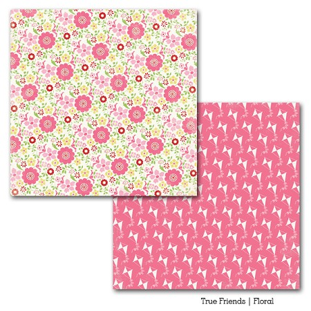 "Carta Bella - True Friends Collection by Carina Gardner - 12""x12"" Double Sided Paper - Floral"