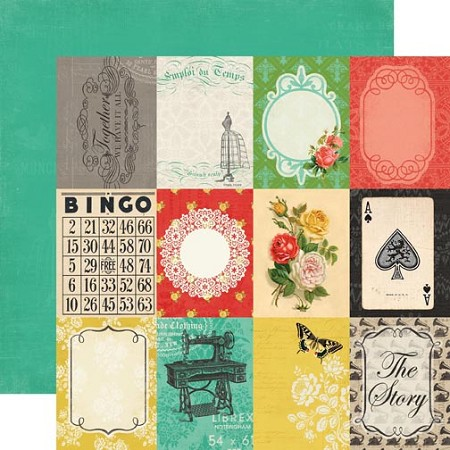 "Carta Bella - Yesterday Collection - 12""x12"" double sided cardstock - 3X4 Journaling Cards"