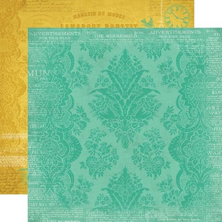 "Carta Bella - Yesterday Collection - 12""x12"" double sided cardstock - Teal Damask"
