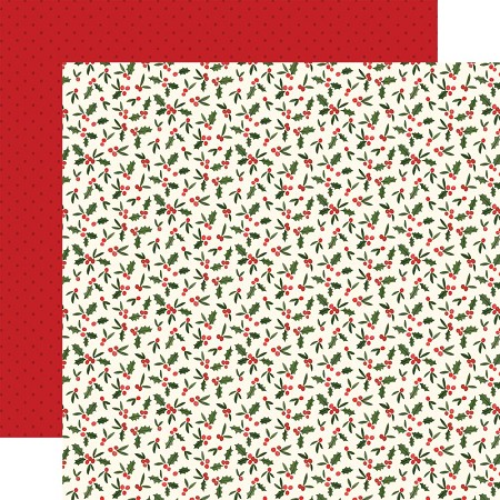 "Carta Bella - Hello Christmas Collection - Holly Berries 12""x12"" Cardstock"