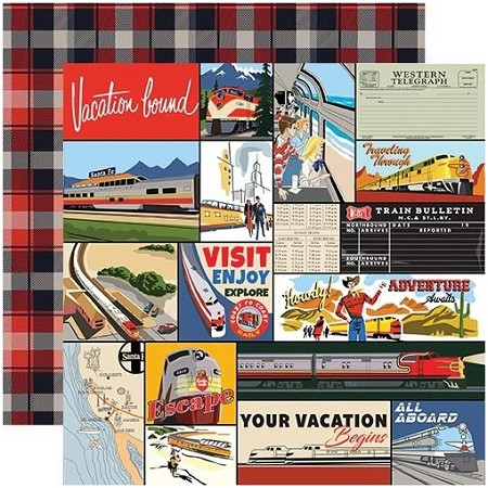 "Carta Bella - All Aboard Collection - Multi Journaling Cards 12""x12"" Cardstock"