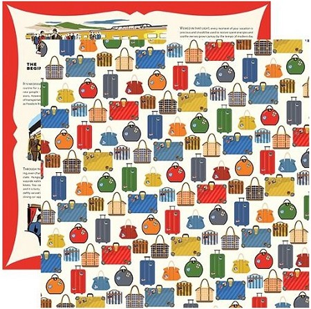"Carta Bella - All Aboard Collection - Luggage 12""x12"" Cardstock"