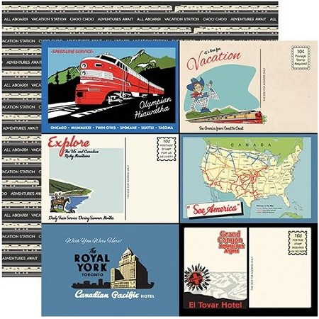 "Carta Bella - All Aboard Collection - Postcards 12""x12"" Cardstock"