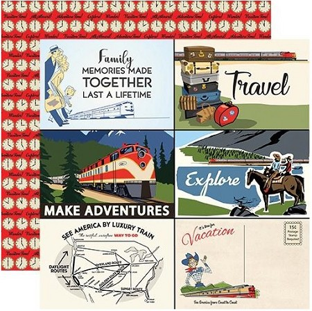 "Carta Bella - All Aboard Collection - 4""X6"" Journaling Cards 12""x12"" Cardstock"
