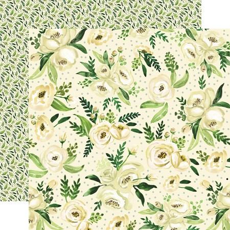 "Carta Bella - Botanical Garden Collection - White Rose Spray 12""x12"" Cardstock"