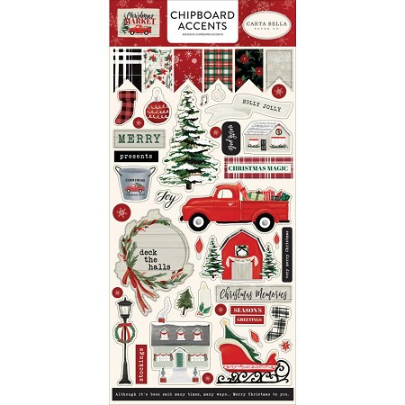 "Carta Bella - Christmas Market Collection - 6""x12"" Chipboard Accents"