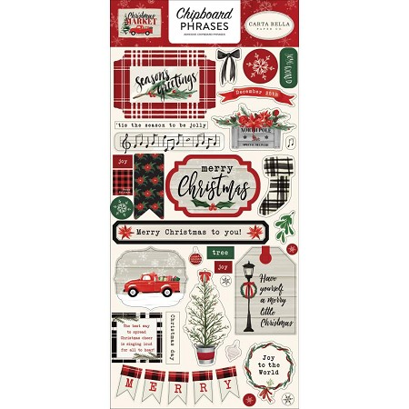 "Carta Bella - Christmas Market Collection - 6""x12"" Chipboard Phrases"